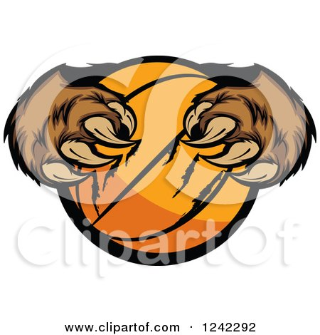 Clipart of a Bear Claws Tearing a Basketball - Royalty Free Vector Illustration by Chromaco