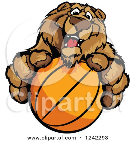 Clipart of a Friendly Bear Sports Mascot Holding out a Basketball - Royalty Free Vector Illustration by Chromaco