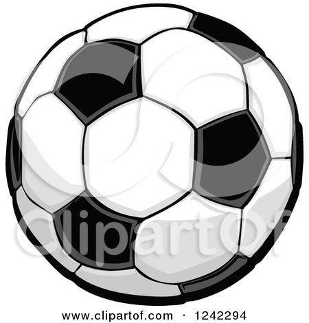 Clipart of a Black and White Soccer Ball - Royalty Free Vector Illustration by Chromaco