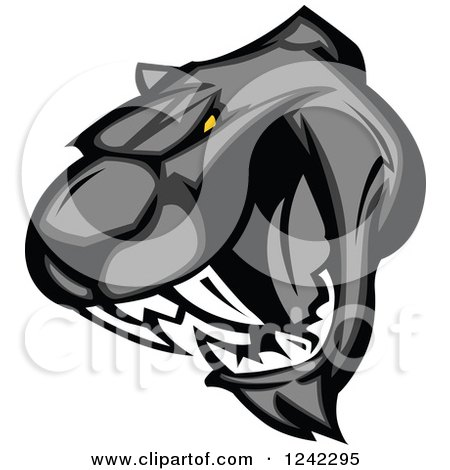 Clipart of a Vicious Roaring Black Panther Head - Royalty Free Vector Illustration by Chromaco