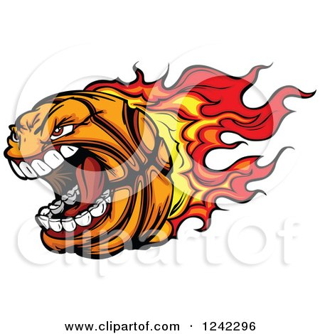 Clipart of a Screaming Basketball Mascot with a Trail of Flames - Royalty Free Vector Illustration by Chromaco