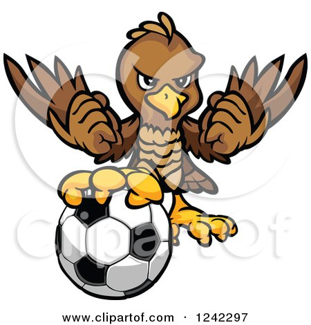 Clipart of a Brown Falcon Sports Mascot with a Soccer Ball - Royalty Free Vector Illustration by Chromaco