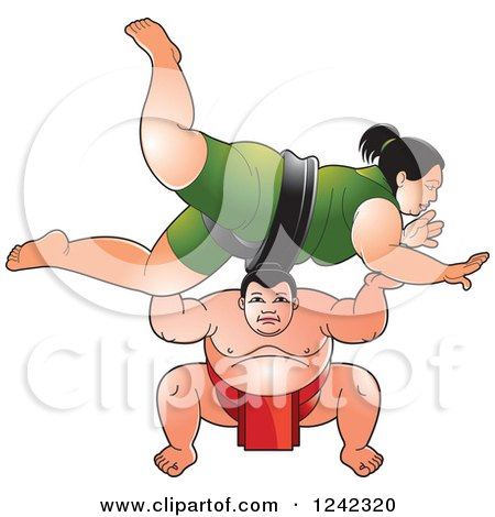 Clipart of Male and Female Sumo Wrestlers Fighting - Royalty Free Vector Illustration by Lal Perera