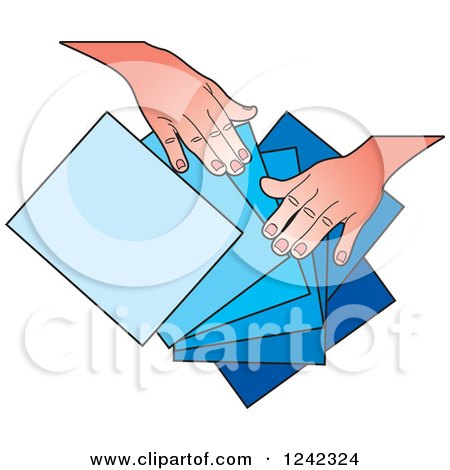 Clipart of Hands Splaying out Red Orange and Yellow Papers - Royalty Free Vector Illustration by Lal Perera