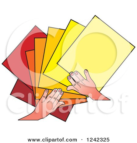 Clipart of Hands Splaying out Blue Papers - Royalty Free Vector Illustration by Lal Perera