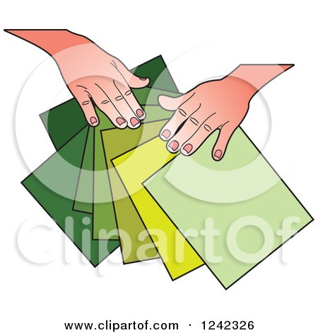 Clipart of Hands Splaying out Green Papers - Royalty Free Vector Illustration by Lal Perera