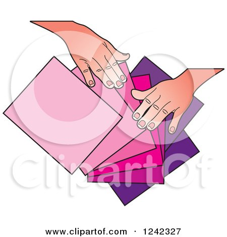 Clipart of Hands Splaying out Pink and Purple Papers - Royalty Free Vector Illustration by Lal Perera