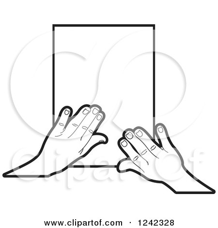 Clipart of Black and White Hands over Paper - Royalty Free Vector Illustration by Lal Perera