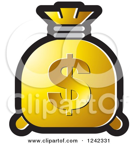 Clipart of a Golden Money Bag with a Dollar Symbol - Royalty Free Vector Illustration by Lal Perera
