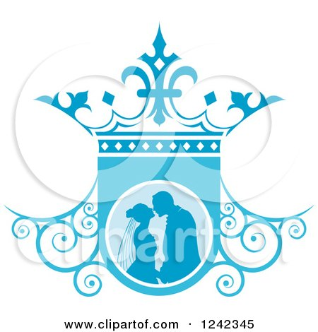 Clipart of a Silhouetted Wedding Couple About to Kiss in Ablue Ornate Crown Shield - Royalty Free Vector Illustration by Lal Perera