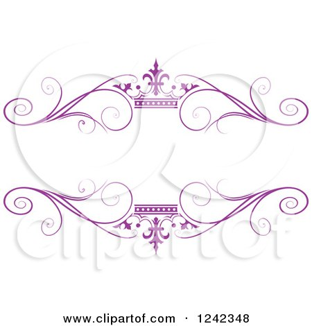 Clipart of a Purple Crown and Swirl Flourish Wedding Frame - Royalty Free Vector Illustration by Lal Perera