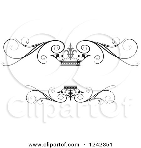 Clipart of a Black and White Crown and Swirl Flourish Wedding Frame - Royalty Free Vector Illustration by Lal Perera