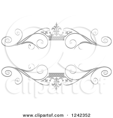 Clipart of a Silver Crown and Swirl Flourish Wedding Frame - Royalty Free Vector Illustration by Lal Perera