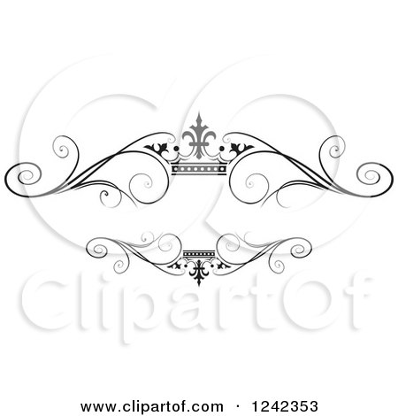 Clipart Of A Black And White Crown And Swirl Flourish Wedding Frame 2 Royalty Free Vector Illustration
