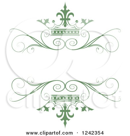 Clipart of a Green Crown and Swirl Flourish Wedding Frame - Royalty Free Vector Illustration by Lal Perera