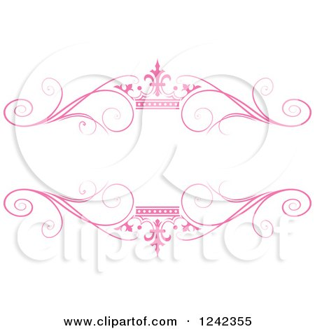 Clipart of a Pink Crown and Swirl Flourish Wedding Frame - Royalty Free Vector Illustration by Lal Perera