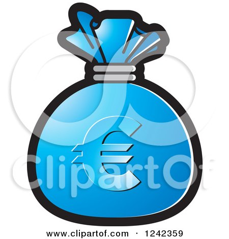 Clipart of a Blue Money Bag with a Euro Symbol - Royalty Free Vector Illustration by Lal Perera