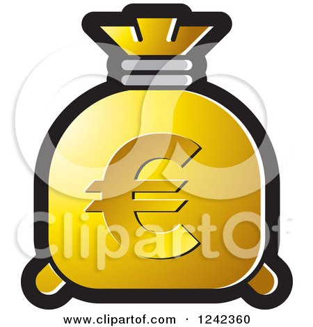 Clipart of a Gold Money Bag with a Euro Symbol - Royalty Free Vector Illustration by Lal Perera