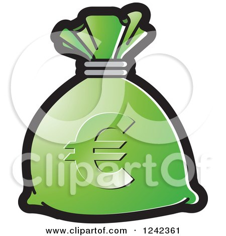 Clipart of a Green Money Bag with a Euro Symbol - Royalty Free Vector Illustration by Lal Perera