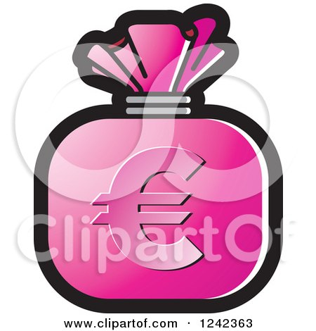 Clipart of a Pink Money Bag with a Euro Symbol - Royalty Free Vector Illustration by Lal Perera