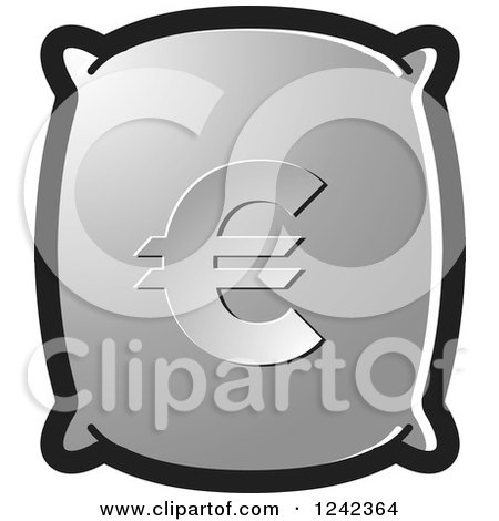 Clipart of a Silver Money Bag with a Euro Symbol - Royalty Free Vector Illustration by Lal Perera