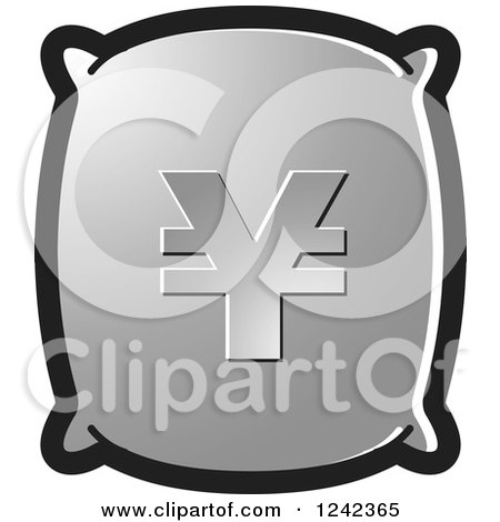 Clipart of a Silver Money Bag with a Yen Symbol - Royalty Free Vector Illustration by Lal Perera