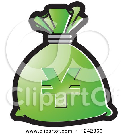 Clipart of a Green Money Bag with a Yen Symbol - Royalty Free Vector Illustration by Lal Perera