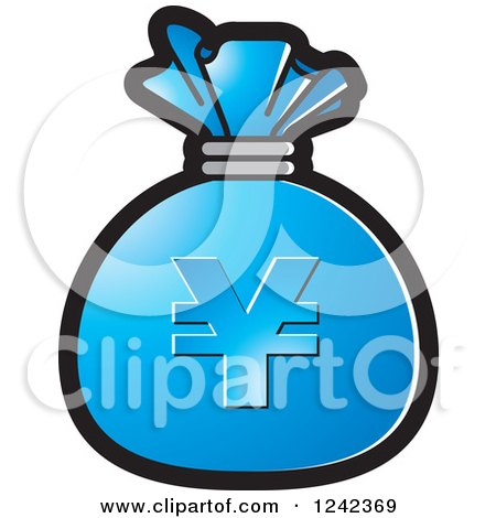 Clipart of a Blue Money Bag with a Yen Symbol - Royalty Free Vector Illustration by Lal Perera