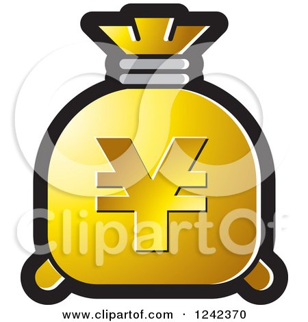 Clipart of a Gold Money Bag with a Yen Symbol - Royalty Free Vector Illustration by Lal Perera