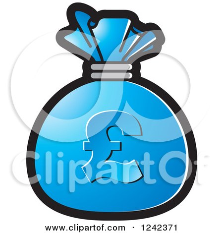 Clipart of a Blue Money Bag with a Pound Currency Symbol - Royalty Free Vector Illustration by Lal Perera