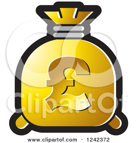 Clipart of a Gold Money Bag with a Pound Currency Symbol - Royalty Free Vector Illustration by Lal Perera