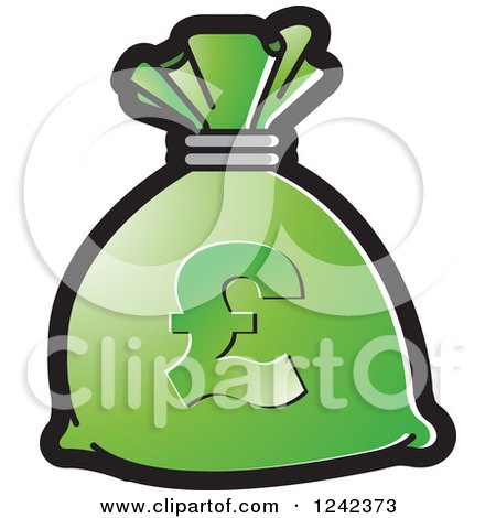 Clipart of a Green Money Bag with a Pound Currency Symbol - Royalty Free Vector Illustration by Lal Perera