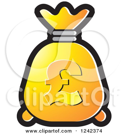 Clipart of a Yellow and Orange Money Bag with a Pound Currency Symbol - Royalty Free Vector Illustration by Lal Perera
