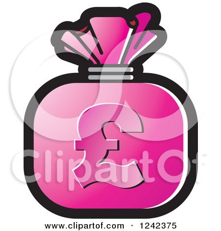 Clipart of a Pink Money Bag with a Pound Currency Symbol - Royalty Free Vector Illustration by Lal Perera