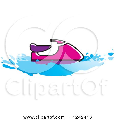 Clipart of a Pink and Purple Water Scooter Jetski - Royalty Free Vector Illustration by Lal Perera