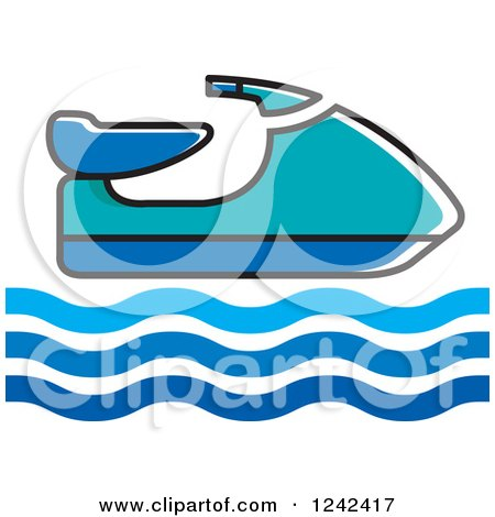 Clipart of a Blue Water Scooter Jetski - Royalty Free Vector Illustration by Lal Perera