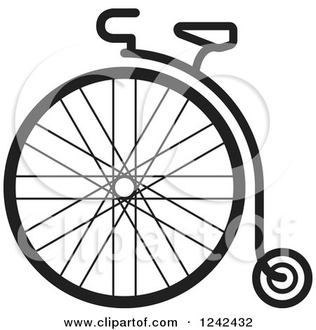 Clipart of a Black and White One Wheel Penny Farthing Cycle - Royalty Free Vector Illustration by Lal Perera