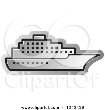 Clipart of a Silver Cruise Ship - Royalty Free Vector Illustration by Lal Perera