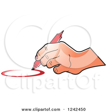 Clipart of a Hand Drawing a Circle with a Red Marker Pen - Royalty Free Vector Illustration by Lal Perera