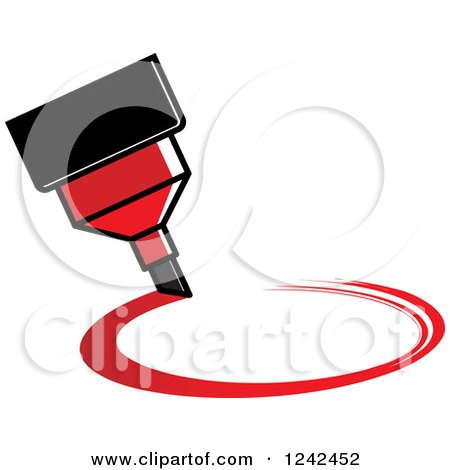 Clipart Of A Red Marker Pen Drawing A Circle Royalty
