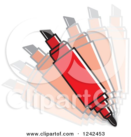 Clipart of a Dual Sided Red Marker Pen - Royalty Free Vector Illustration by Lal Perera