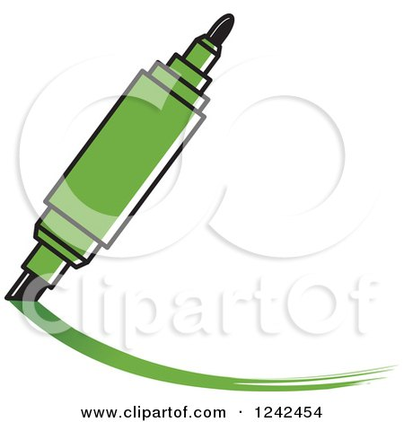 Clipart of a Green Marker Pen Writing - Royalty Free Vector Illustration by Lal Perera