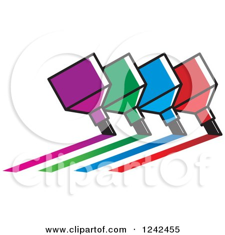 Clipart of Colorful Marker Pens Drawing Lines - Royalty Free Vector Illustration by Lal Perera