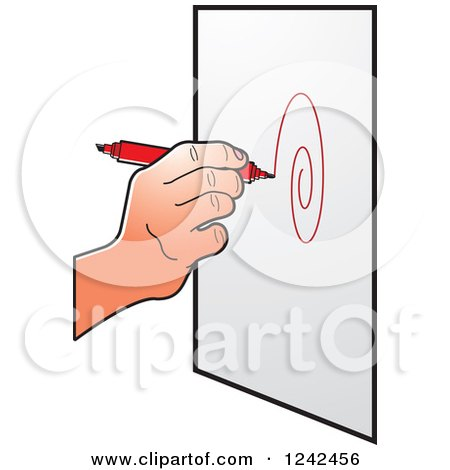 Clipart of a Hand Drawing a Spiral with a Red Marker Pen - Royalty Free Vector Illustration by Lal Perera