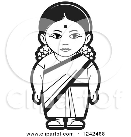 Royalty free clipart illustration of a black and white indian lady 4 ...