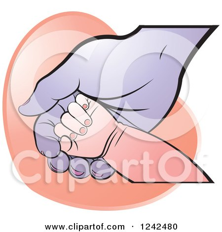 Clipart of a White Baby Hand on a Black Mother's or Grandparent's Hand over a Heart - Royalty Free Vector Illustration by Lal Perera