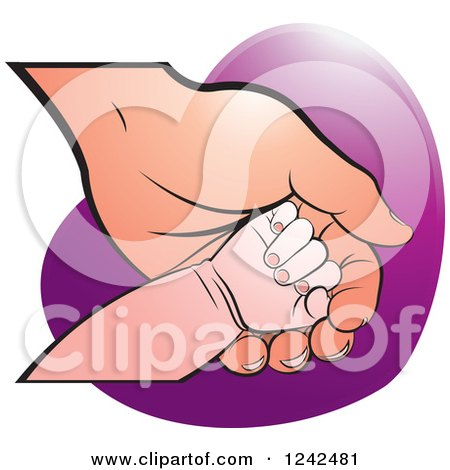 Clipart of a Baby Hand on a Mother's or Grandparent's Hand over a Heart - Royalty Free Vector Illustration by Lal Perera