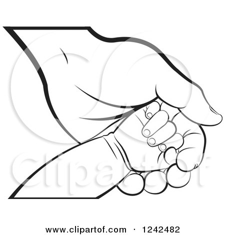 Clipart of a Blcak and White Baby Hand on a Mother's or Grandparent's Hand - Royalty Free Vector Illustration by Lal Perera