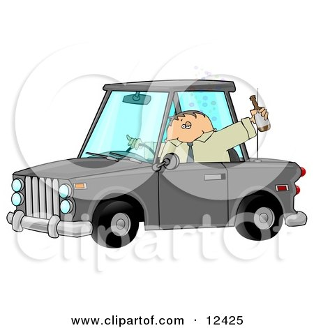 Drunk Male Alcoholic Putting Others at Risk While Operating a Vehicle and Drinking a Bottle of Beer Posters, Art Prints