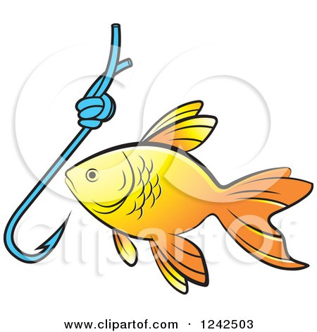 Clipart of a Goldfish and Hook - Royalty Free Vector Illustration by Lal Perera